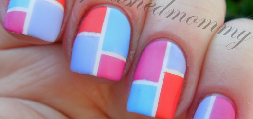 march nail art color block-004