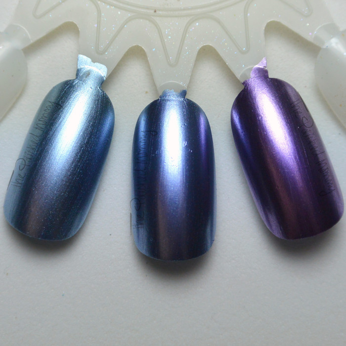Sally Hansen Leaden Lilac vs Purple Alloy and Essie Blue Rhapsody